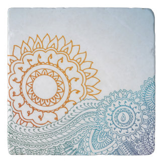 Detailed henna abstract sunrise trivets