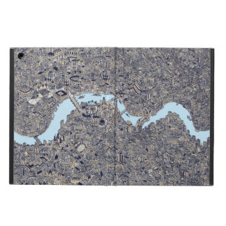 Detailed London map hand drawn thames. Cover For iPad Air