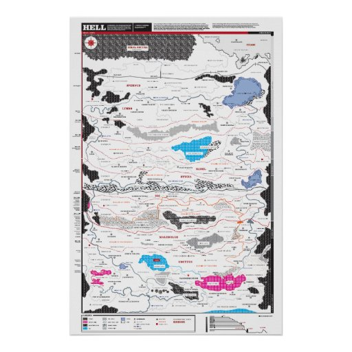 Detailed map of Hell Poster