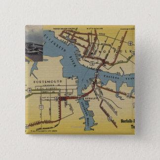 Detailed Map of Norfolk-Portsmouth Bridge Tunnel 15 Cm Square Badge