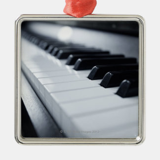 Detailed Piano Keys Silver-Colored Square Decoration