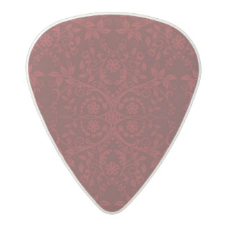 Detailed Red Floral Wallpaper Acetal Guitar Pick