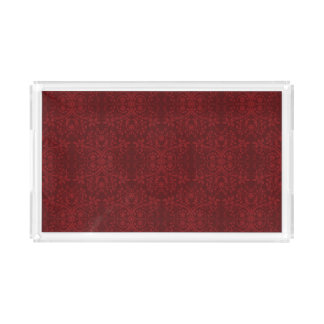 Detailed Red Floral Wallpaper Acrylic Tray