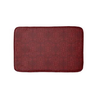 Detailed Red Floral Wallpaper Bath Mat