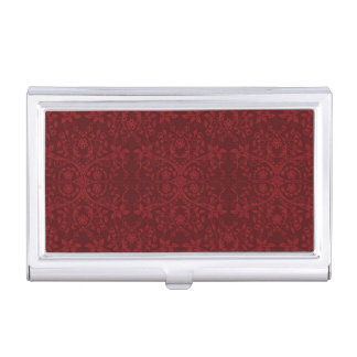 Detailed Red Floral Wallpaper Business Card Holder