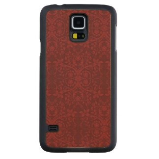 Detailed Red Floral Wallpaper Carved Maple Galaxy S5 Case