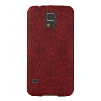 Detailed Red Floral Wallpaper Case For Galaxy S5