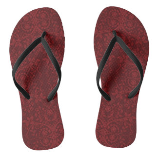 Detailed Red Floral Wallpaper Flip Flops