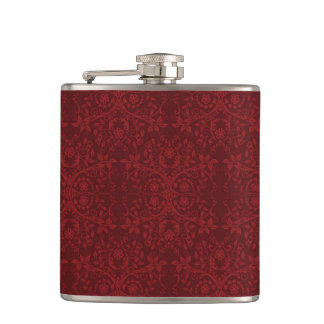 Detailed Red Floral Wallpaper Hip Flask