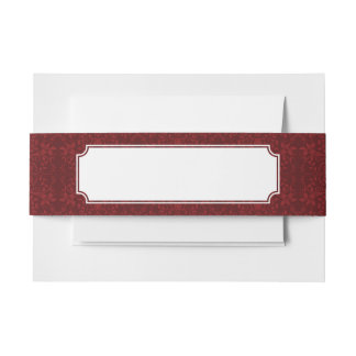 Detailed Red Floral Wallpaper Invitation Belly Band