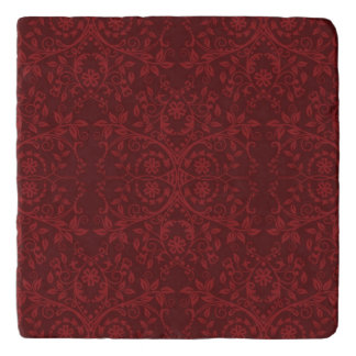 Detailed Red Floral Wallpaper Trivet