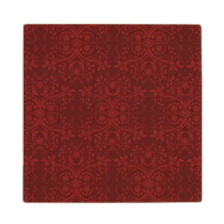 Detailed Red Floral Wallpaper Wood Coaster