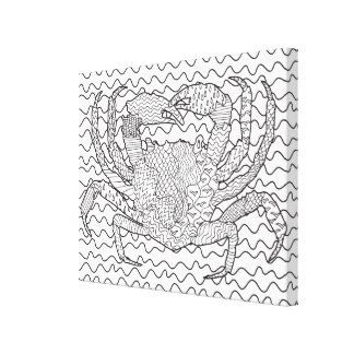 Detailed Sea Crab Doodle 6 Canvas Print