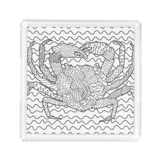 Detailed Sea Crab Doodle Acrylic Tray