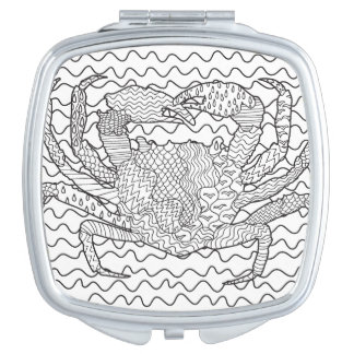 Detailed Sea Crab Doodle Compact Mirror