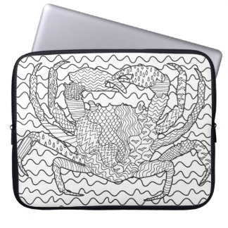 Detailed Sea Crab Doodle Laptop Sleeve