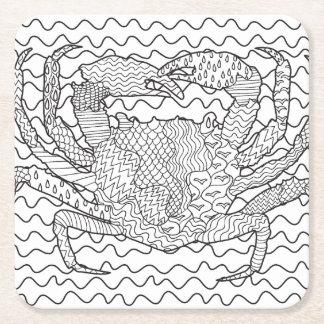 Detailed Sea Crab Doodle Square Paper Coaster