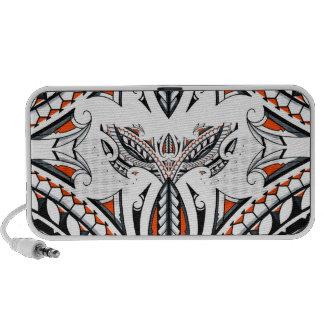 Detailed tribal maori polynesian orange pattern iPod speaker