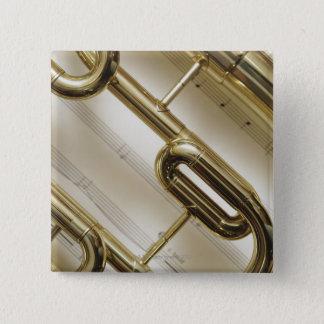 Detailed Trumpet 15 Cm Square Badge