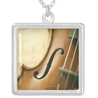 Detailed Violin Silver Plated Necklace