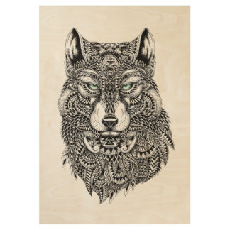 Detailed Wolf Head Illustration In Black Wood Poster