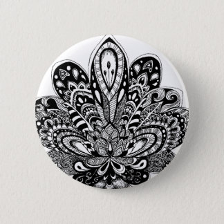 Detailed zendoodle Lotus 6 Cm Round Badge