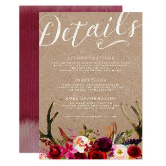 DETAILS CARD | Elegant Floral Boho Rustic Antlers