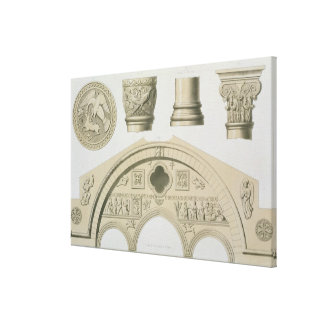 Details of a sculptured arch and columns from St. Canvas Print