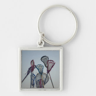 Details of Lacrosse game Silver-Colored Square Key Ring