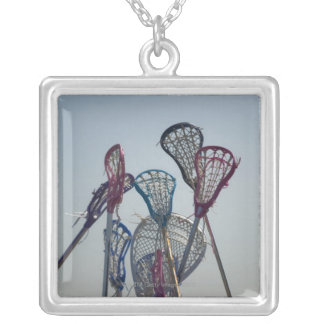 Details of Lacrosse game Silver Plated Necklace