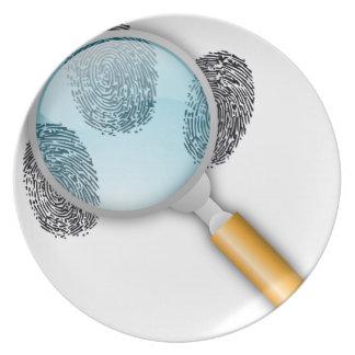 Detective Clues Find Finger Fingerprints Mystery Plate