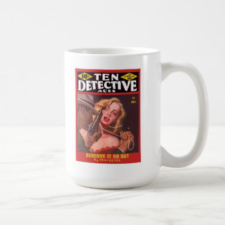 DETECTIVE Cool Vintage Pulp Magazine Cover Art Basic White Mug