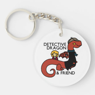 detective dragon and friend Double-Sided round acrylic key ring