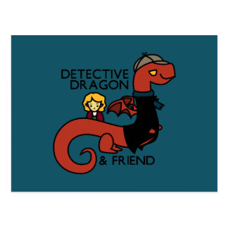 detective dragon and friend parody postcards