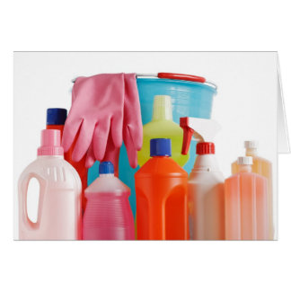 detergent bottles and bucket greeting card