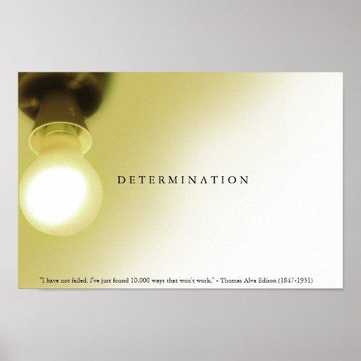 DETERMINATION Motivational Light Bulb Edison Print