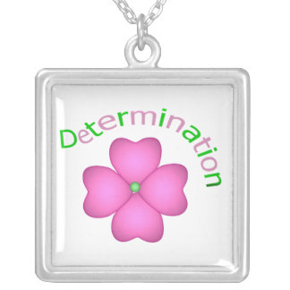Determination Square Pendant Necklace
