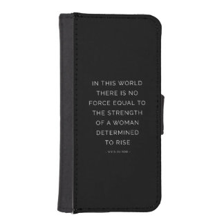 Determined Woman Inspirational Quote Black White iPhone 5 Wallet Cases