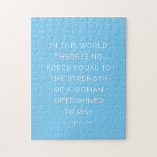 Determined Woman Inspirational Quote Blue White Puzzle