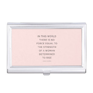 Inspirational quotes inspiration quote business card holders cases determined woman inspirational quote pink black business card holder reheart Gallery