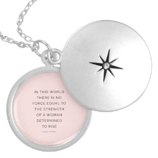 Determined Woman Inspiring Quotes Pink Black Lockets