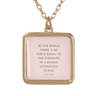 Determined Woman Inspiring Quotes Pink Black Necklace