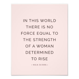 Determined Woman Inspiring Quotes Pink Black Photo Print