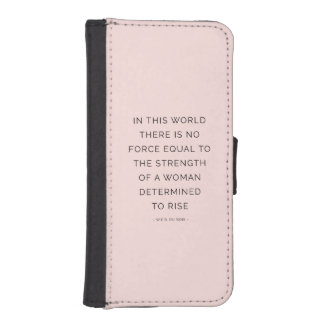 Determined Woman Inspiring Quotes Pink Black Phone Wallet Cases