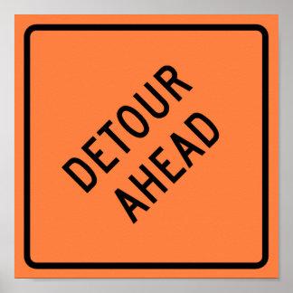 Detour Construction Highway SIgn Poster