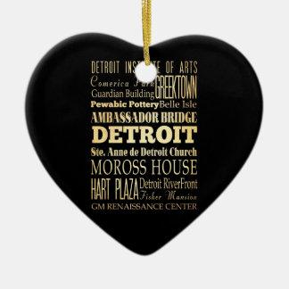 Detriot City of Michigan State Typography Art Ceramic Heart Decoration