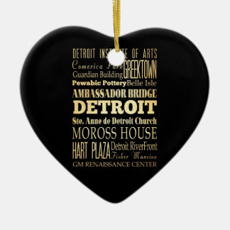Detriot City of Michigan State Typography Art Christmas Ornament