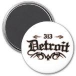 Detroit 313 7.5 cm round magnet
