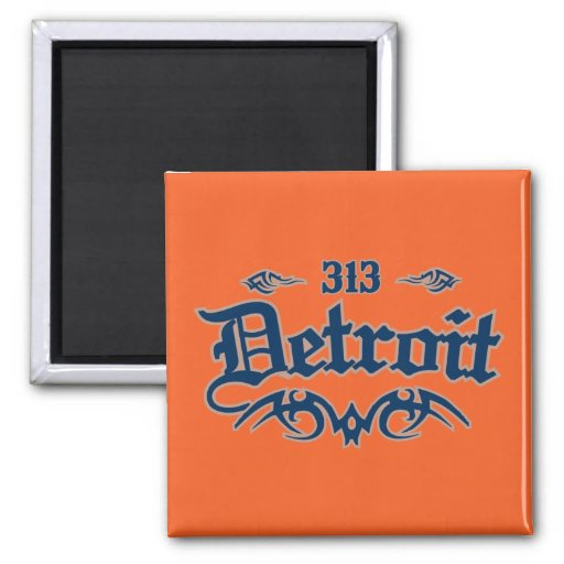 Detroit 313 square magnet