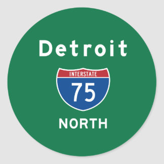 Detroit 75 classic round sticker